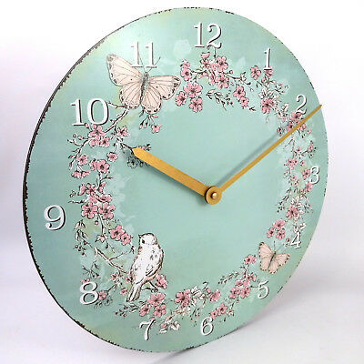 Vintage Bird Butterfly Flower Wall Clock Turquoise, Large, 34cm, Rustic Look, AA
