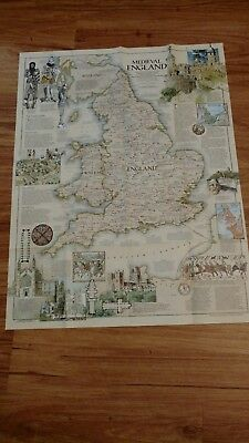 National Geographic paper MAP 1979 BRITISH ISLES Medieval ENGLAND vintage