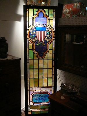 S38 Antique Stained Glass Leaded Window Ww1 Wwi Fallen Soldier Henry Mendell Ny