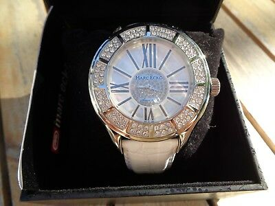 Marc Ecko Men's White Leather Band With Mother Of Pearl Dial Watch WOW