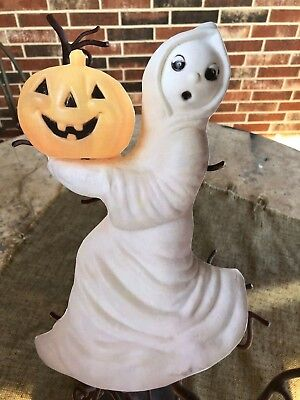 """Vintage Style Blow Mold Ghost Holds JOL Halloween Cardboard Decoration, 11"""""""