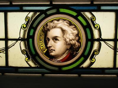 "VICTORIAN ENGLISH LEADED STAINED GLASS WINDOW ""Mozart"" Hand Painted 35.5"" x 10"""