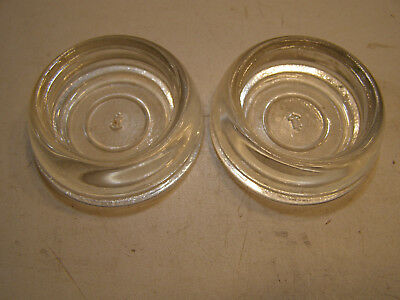 2 Vintage Clear Glass Anchor Hocking Furniture Coasters