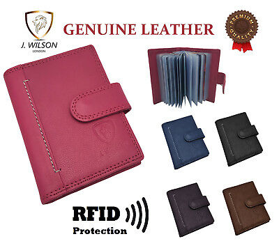 Designer Mens Leather Card Wallet RFID SAFE Contactless Blocking ID Protection
