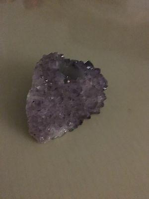 Amethyst geode candle holder sparkling purple home decor ambient light