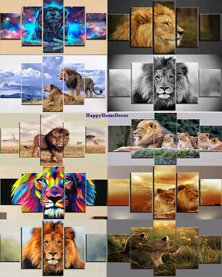 Awesome Lion Painting 5pieces Canvas Print Brave Lion Poster Wall Art Home Decor