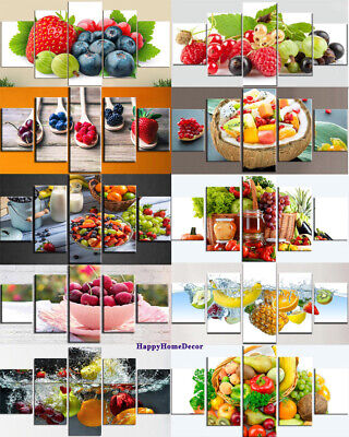Healthy Fruits Painting 5p Canvas Print Restaurant Poster Wall Art Kitchen Decor