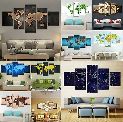 Great World Map Painting 5pcs Canvas Print World Poster Wall Art Gift Home Decor