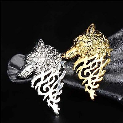 Women Vintage Wolf Head Coyote Antique Costume Collar Lapel Brooch Pin Breastpin