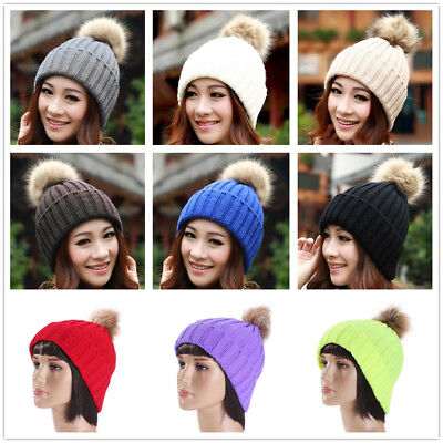 Women Men Casual Crochet Knitted Autumn Winter Warm Pompom Beanie Hat Cap New