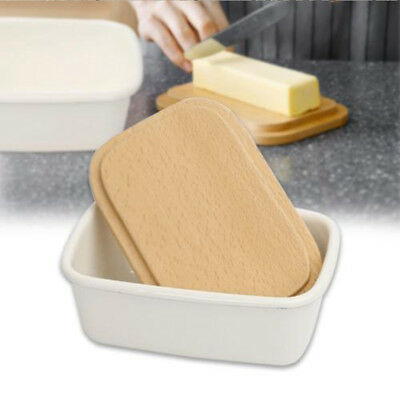 Kitchen Porcelain Salt Box Butter Dish Box with Wooden Board Lid Secure Storage