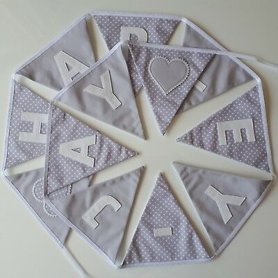 Personalised Grey & White Fabric Bunting ~ Name Gift/Baby Boy/Girl ~Nursery/Kids