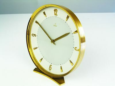Beautiful Rare Later Art Deco Bauhaus Brass Desk Clock  Junghans