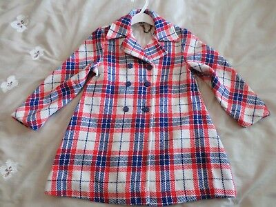 Vintage cute  girls plaid coat  red, white, and blue, size 6, Sears