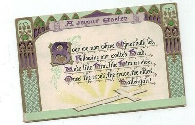 Antique Tuck Embossed Easter Post Card  Art Deco Style Gold Foil & Cross