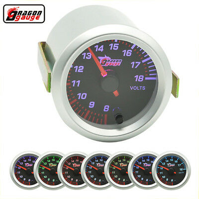 "2"" 52MM UNIVERSAL CAR AUTO MOTOR white LED VOLTAGE VOLT GAUGE METER SMOKE"