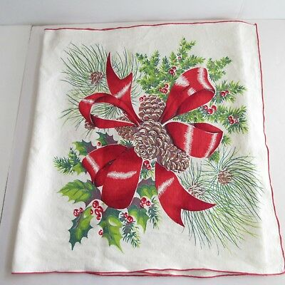 Linen Christmas Table Runner 18 x 47 Tablecloth Pinecones Berries Bows