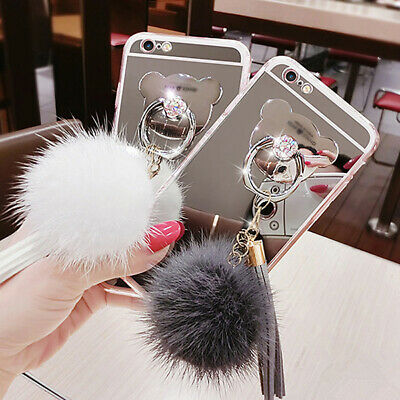 Luxury Bling Mirror TPU Ring Holder Fur Ball Case Cover For Samsung Note 9 S9 S8
