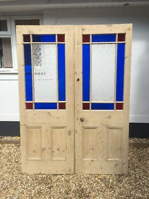 Victorian Stained Glass Etched French Doors Double Set Antique Period Reclaimed