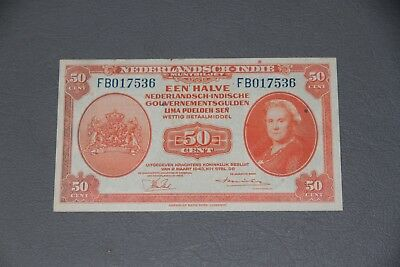 Netherlands Indies 50 Centimes 1943  Indonesia P 110 World War Two Unc