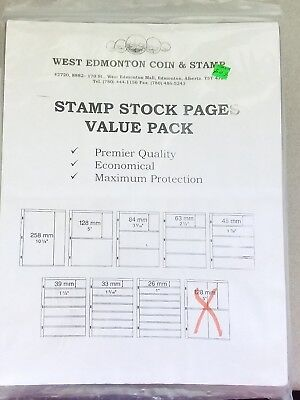 """Lot of New 56 Stamp Stock Pages 2 1/2 """" 4 Row (Black sheets) double sided. Value"""