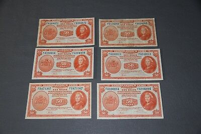6 Netherlands Indies 50 Centimes 1943  Indonesia P 110 World War Two