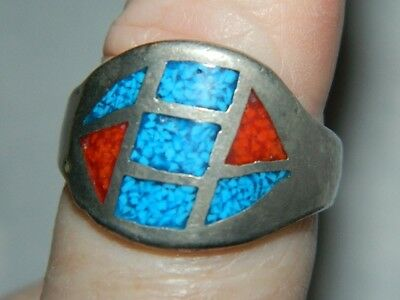 Ring size 11 1/2 silvertone turquoise and coral chips