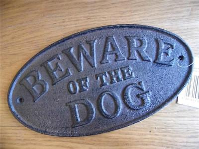 Fab Large Cast Iron Vintage Antique Sign Beware Of The Dog Wall Plaque Warning