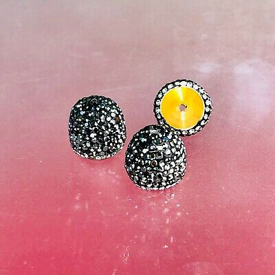 Marcasite Cz bead cups, new, super sparcling, Indian origin, 15x15mm