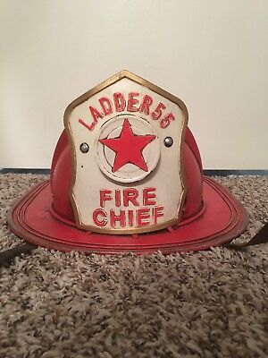 Vintage Ladder 55 Fire Chief Metal Firefighter Hat