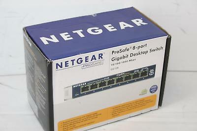 Brand New Netgear Prosafe 8-Port Gigabit Desktop Switch 10/100/1000 Mbps Gs108