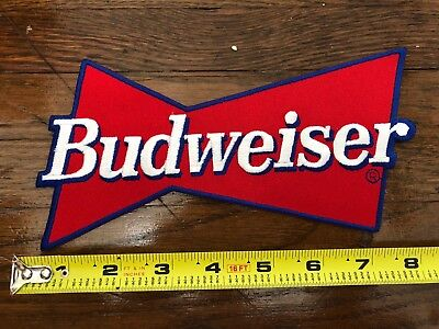 """Budweiser Beer Red Bow tie  4.5"""" X 8.5"""" Embroidered Patch Bud Anheuser-Busch"""