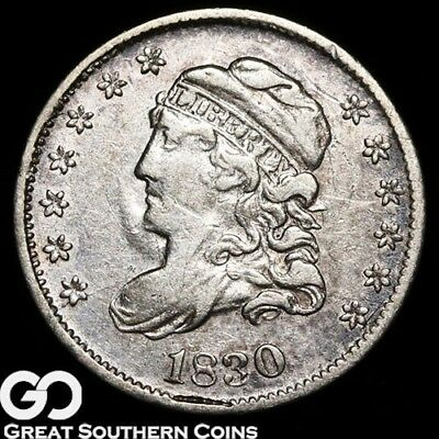 1830 Capped Bust Half Dime, Tough Early Silver Type!