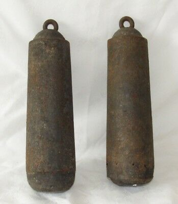 Nice Pair Of 18th/19th Century English Grandfather Clock Iron Weights