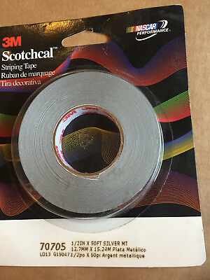 "1 NEW 3M 70705 SCOTCHCAL SILVER METALLIC COLORED 1/2""x50' PIN STRIPING TAPE ROLL"