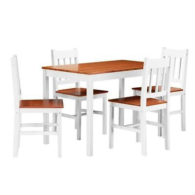 5 Piece Wood Dining Table Set 4 Chairs Home Kitchen Breakfast Furniture (White&W