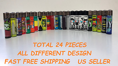 24 Pcs Brand New Full Size Refillable CLIPPER Lighters ASSORTED STYLE MULTIPLE