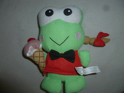 "New Sanrio Keroppi Sister Frog Holding Ice Cream Cone Bow Tie Plush 2009 9"" Toy"