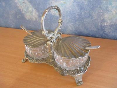 Vintage Art Nouveau Cut Glass Twin Sugar Jar in Pewter Caddy with Clam Shell lid