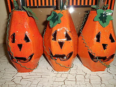 HALLOWEEN Set Of 3 Pumpkin Luminaries Candle