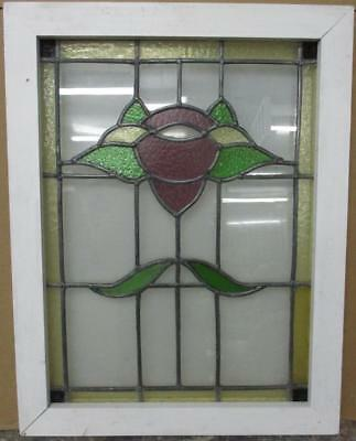 "MID SIZED OLD ENGLISH LEADED STAINED GLASS WINDOW Beautiful Floral 20.5"" x 26.5"""