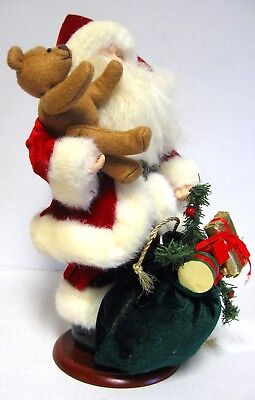"""13"""" Santa Claus Figure Christmas Display With Bear & Loaded Toy Sack On A Stand"""