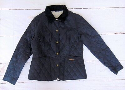 BARBOUR Navy Quilted Dress Fitted Jacket Barn Coat Size US 8 UK 12