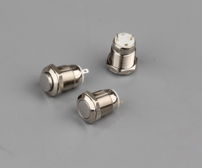 1Pc Momentary Toggle Dome Top Push Button Starter Switch 12mm 250V 2A Silver