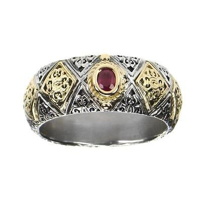 Gerochristo 2640 ~ Solid Gold & Sterling Silver with Ruby Medieval Band Ring