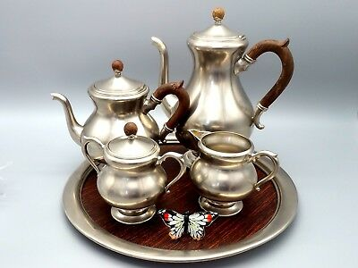 Royal Holland pewter coffee tea set 5 Piece Vintage Sugar Creamer Hallowware