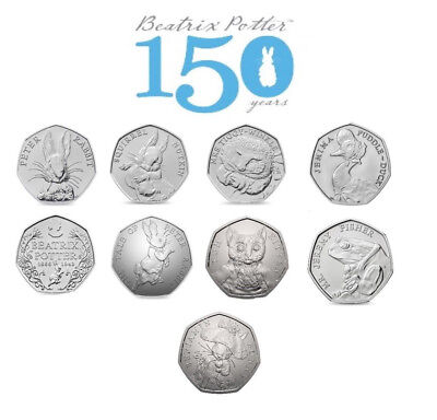 Beatrix Potter Coin Collection 50p 2016 2017 Peter Rabbit BU Fifty Pence