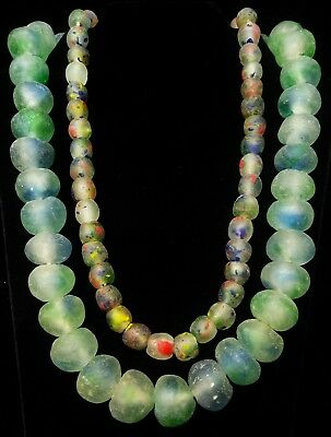 LOT OF 2 African Frosted Sea Glass Beads Krobo Ghana Necklace Trade Jewelry