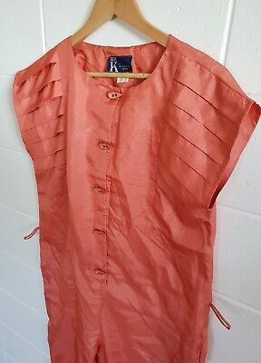 Vintage MR K Orange Boxy Parachute Jumpsuit sz 12 14  Pockets Tapered Leg