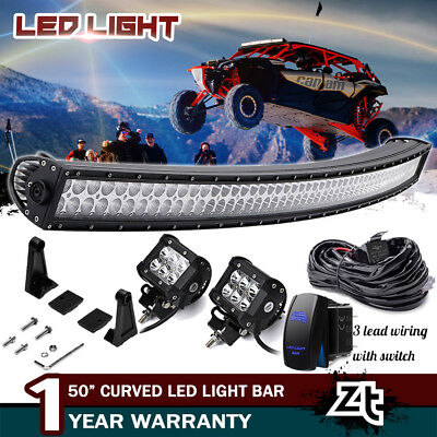 "50"" LED Curved Light Bar Combo For Can-AM Commander Maverick X3 MAX 1000R 800R"